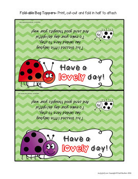"""Goodie Bag"" Toppers for Teachers, Staff, or Students! (Ladybug Theme)"