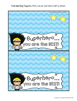 """Goodie Bag"" Toppers for Teachers, Staff, or Students! (Superhero Theme)"