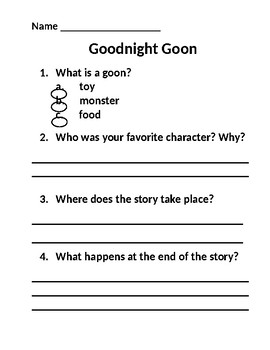Goodnight Goon - Comprehension Questions