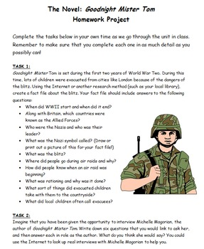 Goodnight Mister Tom 10 Week Unit - 30 Lessons, PPT, Resources, Homework!