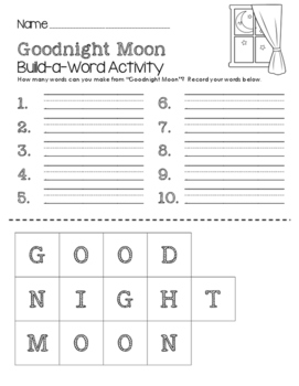 Goodnight Moon Build-a-Word Activity