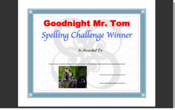 Goodnight Mr. Tom - Spelling Board Game and Puzzles