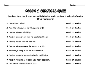 Goods & Services Quiz