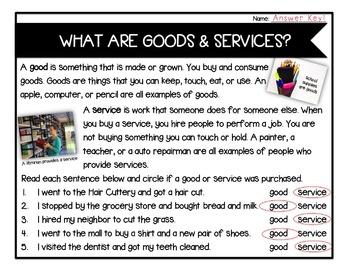 Goods & Services: Reading Passage FREEBIE
