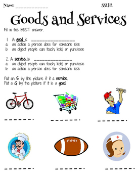 Goods and Services Assessment - SS1H1
