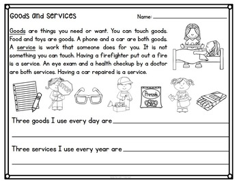 Goods and Services Book and Sorting Activity