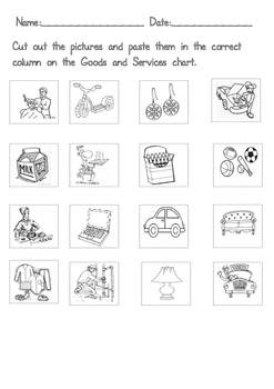 Goods and Services Grade 1 and 2 Cut and Paste Printable