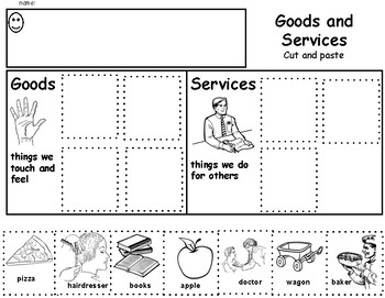 Goods and Services Cut and Paste Worksheet Activity Precious Preschoolers