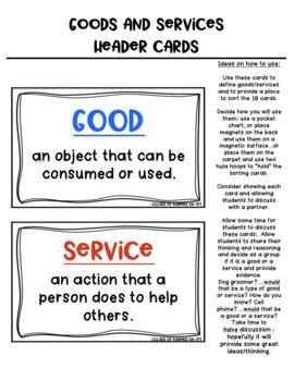 Goods and Services {Economics} Sort Cards for Kindergarten