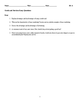 Goods and Services Discussion/Essay Questions