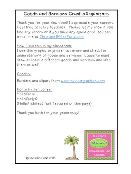 Goods and Services Graphic Organizers