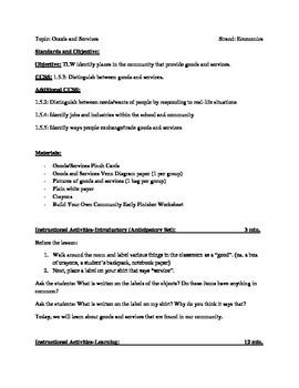 Goods and Services Lesson Plan