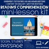 America's Government Reading Comprehension Mini Lesson Digital