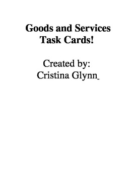 Goods and Services Task Cards