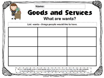Goods and services worksheets
