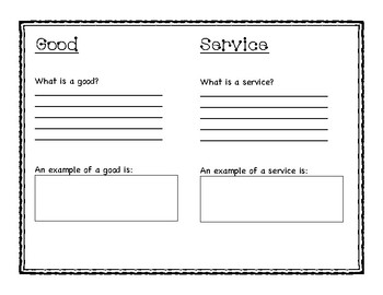 Goods and Services graphic organizer