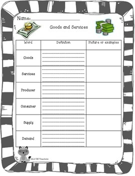 Goods and Services notes