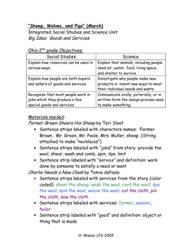 Goods and services Cross curricular unit