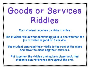 Goods or Services Riddles