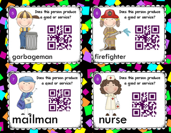 Goods vs. Services QR Code Self Checking Task Cards