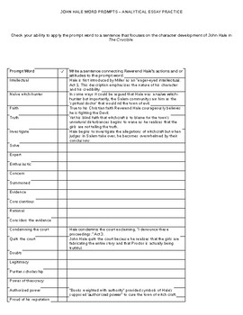 The Crucible: Analytical Prompts for Analytical Essay on Rev. Hale