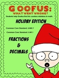Goofus Holiday Edition: Error Analysis Decimal & Fraction Holiday Word Problems