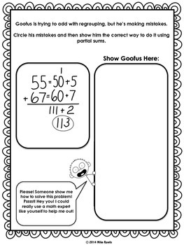 Goofus: What Went Wrong -- Addition of Whole Numbers with Partial Sums