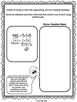 Goofus: What Went Wrong 3rd Grade Addition of Whole Numbers with Partial Sums