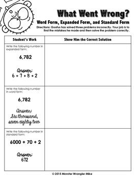 Goofus: What Went Wrong 3rd, 4th, 5th Grades Place Value and Writing Numbers