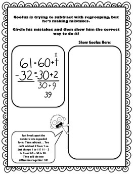 Goofus: What Went Wrong 3rd Grade Subtraction with Regrouping (Expanded Form)