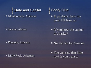 Goofy Clues States and Capitals PowerPoint 97-2003