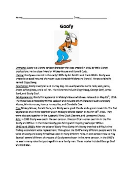 Goofy Disney Character - History Fun Facts - Questions fun activites