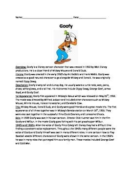 Goofy Disney Character - History Fun Facts - Questions fun