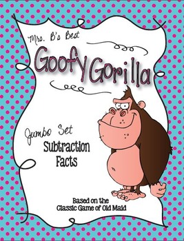 Goofy Gorilla Card Game: Subtraction Facts Jumbo Set