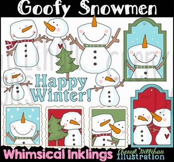 Goofy Snowmen Clipart Collection