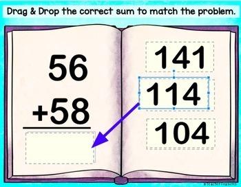 Google Classroom Math 2-Digit Addition Paperless Activities