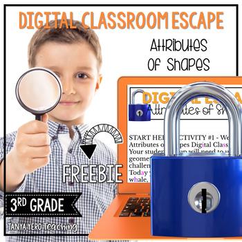 Google Classroom | 3rd Grade Math Digital Escape Room | 3.G.1 Shapes FREEBIE