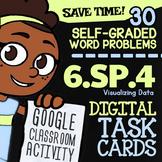 Google Classroom™ 6.SP.4 Task Cards ✦ Dot Plots, Histograms, Box & Whisker Plots