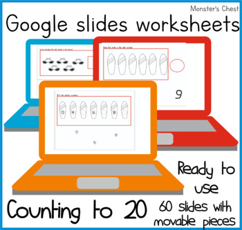 Google Classroom. 60 math slides with movable pieces to work numbers to 20.