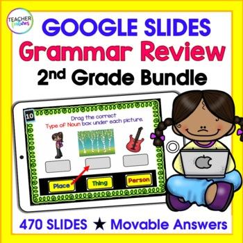 Google Classroom Bundle   2ND GRADE GRAMMAR   Digital Task Cards Bundle