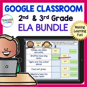 Google Classroom Activities SPELLING & GRAMMAR ELA BUNDLE 2nd & 3rd Grade