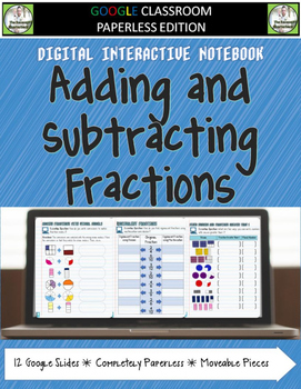 Google Classroom Adding and Subtracting Fractions Digital
