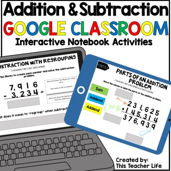 Addition and Subtraction Google Classroom Interactive Notebook Activities