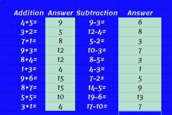 Google Classroom: Addition and Subtraction - Numbers under 20