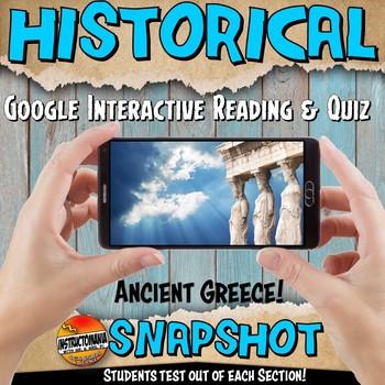 Google Classroom Ancient Greece Snapshot Interactive Reading Activity and QUIZ