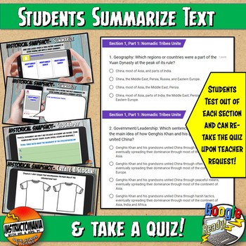 Google Classroom Ancient Mesopotamia Snapshot Reading Activities and QUIZ