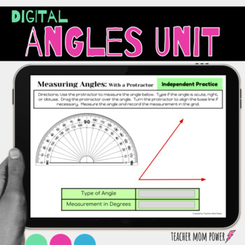 Google Classroom Angles Unit: Measure Angles Classify Angles Acute Obtuse Right