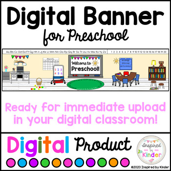 Digital Banner For Preschool For Google Classroom Distance Learning