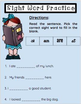 Google Classroom- Bundle Sight Word Practice