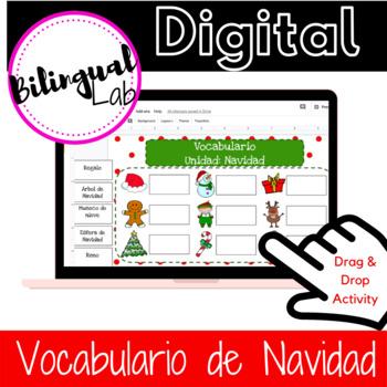 Google Classroom Christmas Vocabulary Activity in Spanish/ Espanol